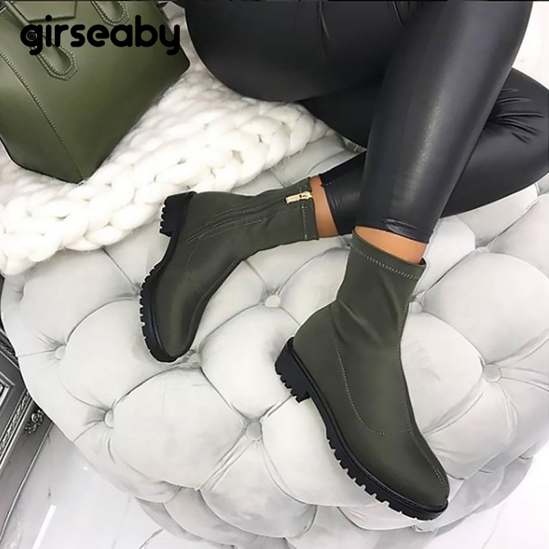 Girseaby Ankle boots for women Round toe Thick heel Lycra Zipper Stretch boots Size 36 41 Black Spring Autumn botines mujer E094