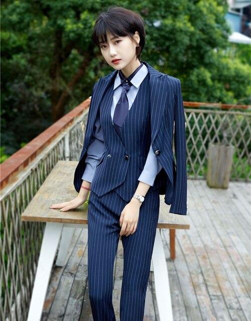 Alta calidad-3 unidades Sets Womens Business Trajes damas chaleco pantalón  y chaqueta mujeres del 6d3b30d72a63