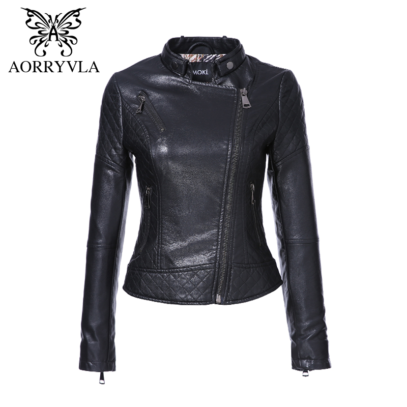AORRYVLA Brand Faux   Leather   Jacket For Women Spring 2018 Slim Biker Motorcycle Full Sleeve Zipper Short Length Women's Clothing