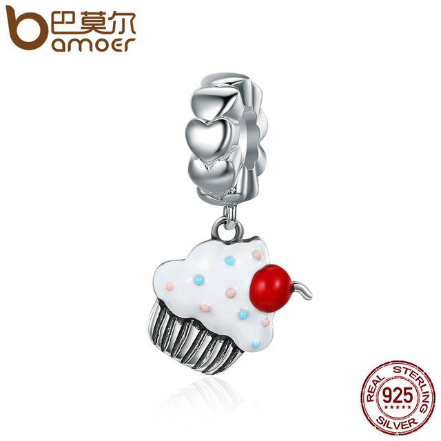 BAMOER Hot Sale 925 Sterling Silver Sweet Cherry Cream Cupcake Pendant Charms fi