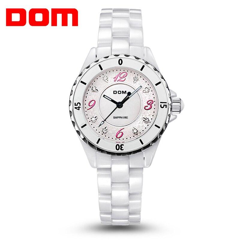 ФОТО DOM luxury brand Women's Bracelet Watches Sapphire Full ceramic wristwatch Lady Fashion Dressing watch clock Relogio Feminino