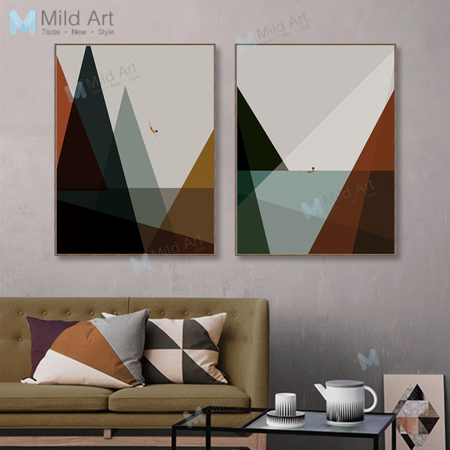 Modern Abstract Landscape Mountain Sea Poster Print Hipster ...