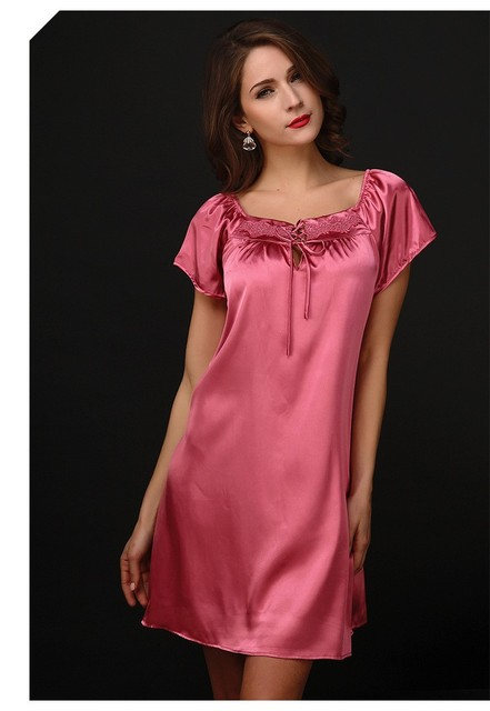 Lisacmvpnel Sexy Short Sleeve Square Collar Nightgown Solid Color Sleepwear Quality Faux Silk Lounge