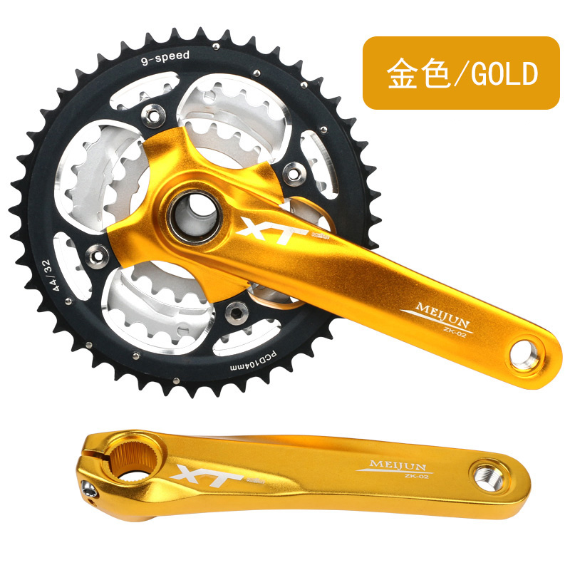 Mountain Bike Crank Set Bicycle Crank Set Sprocket 22/32/44T Bicycle Crank Set Hollow Tooth Plate 9/27 Speed Tooth Plate