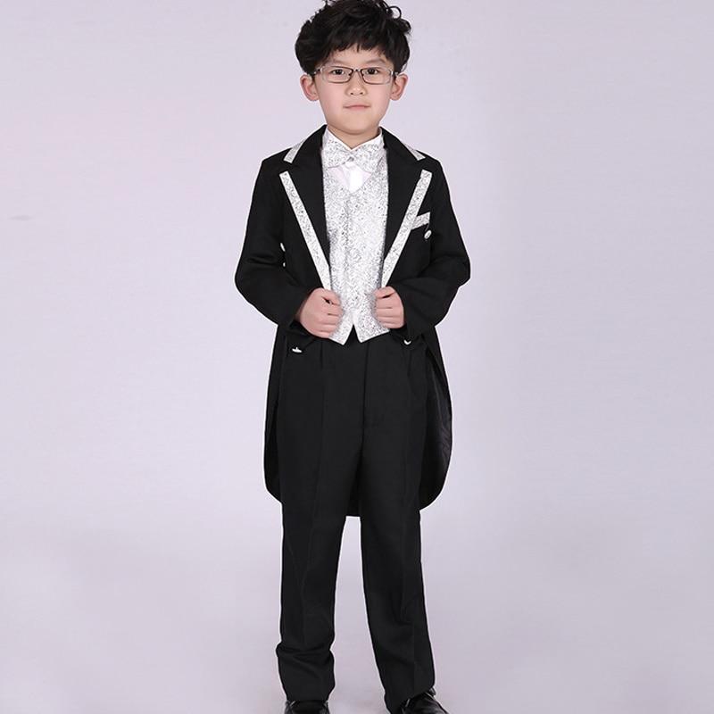 Boys Black Wedding Suits Kids Silver Vest Collar Tuxedo Suits ...