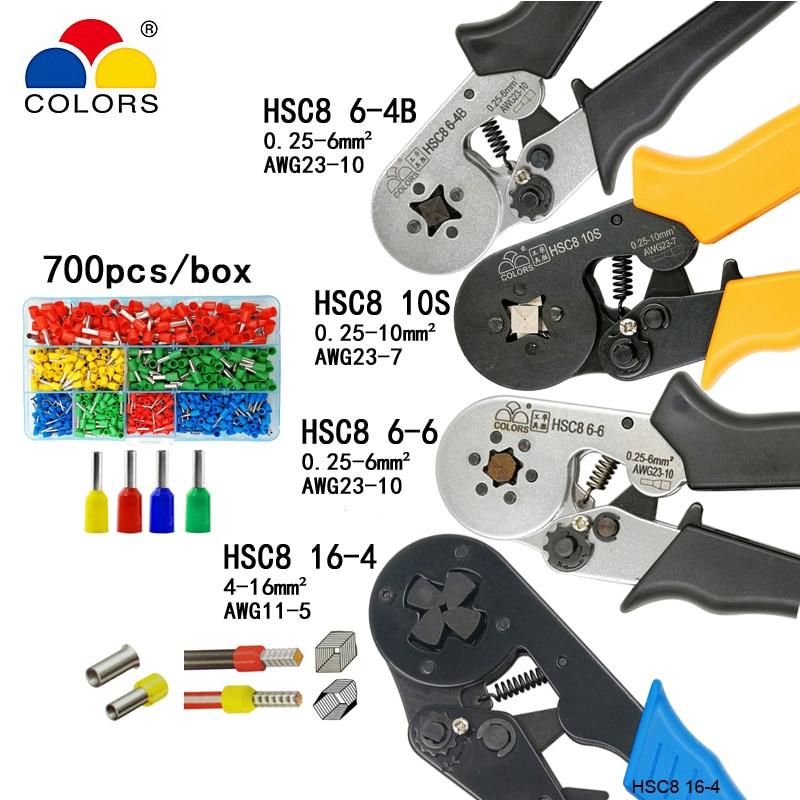 HSC8 10 s 0.25-10mm2 23-7AWG HSC8 6-4B/6-6 0.25-6mm2 HSC8 16-4 pinze di piegatura del tubo elettrico terminali scatola di mini di marca strumenti di serraggio