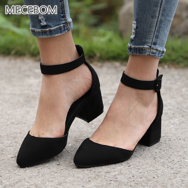 Women Pumps Platform Black Low Heels Suede Casual T Stage Buckle Strap Point Toe ladies Sandals Wedding Shoes Zapatos Mujer 650W