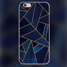 Blue stone with gold lines Design black skin case cover cell mobile phone cases for iphone