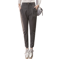 Trousers For Women 2018 Autumn Winter Women's straight thick Woolen High Waist Pants Plus Size Casual Black Gray Pencil Pant