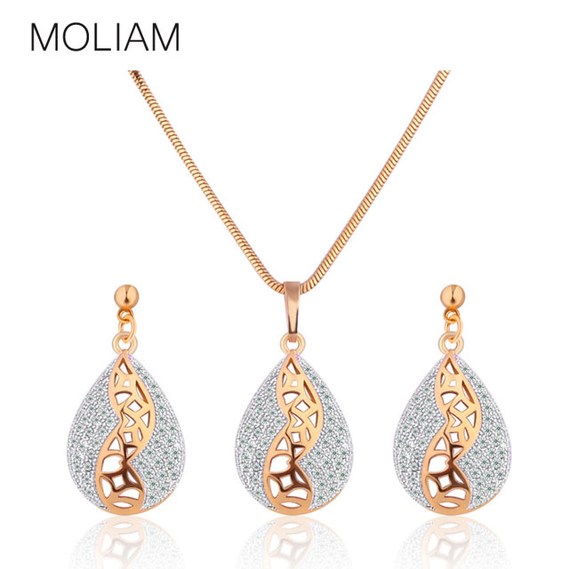 Moliam Water Drop Pendant Necklace Earring Set Gold Color Engagement Jewelry Sets Factory Costume