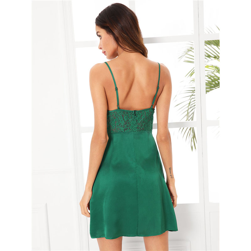 07cb3e300a1 2019 COLROVIE Scalloped Lace Sexy Nightdress Green Sheer Cami ...