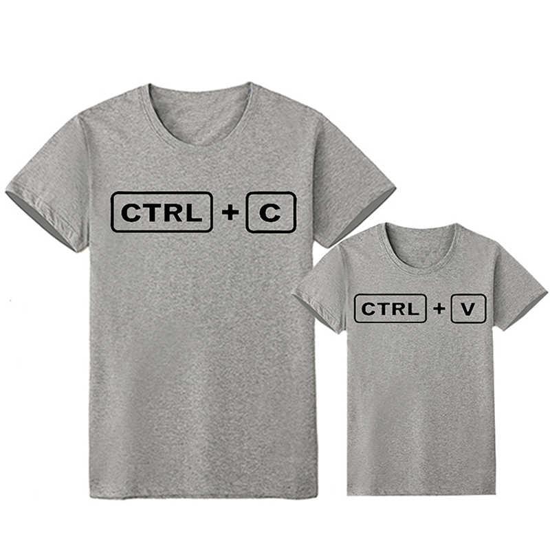 Nuova Famiglia di Corrispondenza Vestiti CTRL + C CTRL + V Sguardo Famiglia Papà Figlio T Camicette Famiglia Dei Ragazzi Dei Vestiti Dei Bambini outfit Uguali per la Famiglia
