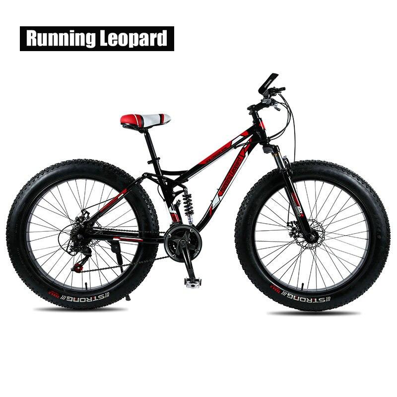 Courir leopard vtt en acier cadre 24 vitesse mécanique frein à disque disque 26 x4.0 fatbike vélo graisse vélo livraison livraison