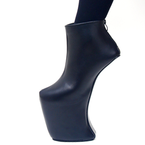 Image 5 - Women Heelless Platform Boots Sexy Round Toe design 2019 Womens Shoes Ankle Boots Fashion High Heels Large Size 36 46