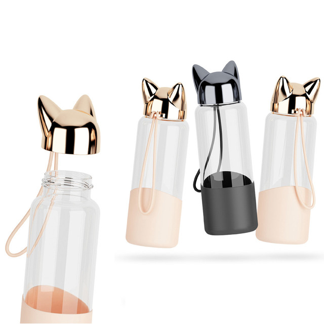 NEW patchwork Cute Fox Glass Water Transparent Bottle 2
