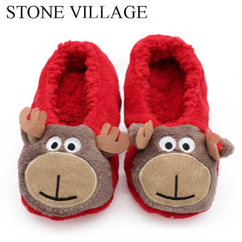 Baru Kedatangan Rumah Sandal Kartun Lembut Wol Hangat Musim Dingin Mewah Sandal Sepatu Hewan Cetakan Lucu Natal Sepatu Wanita Sandal