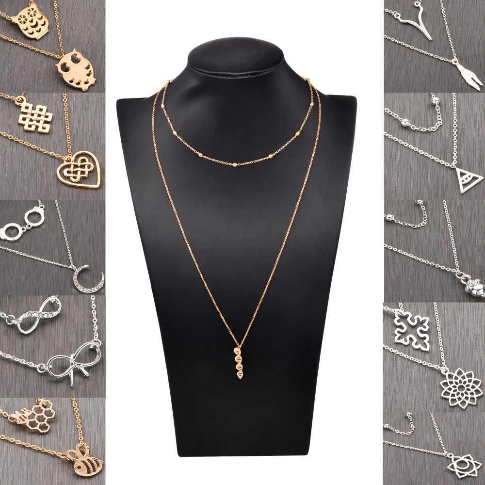 Chandler Double Necklace Bow Number 8 DNA Long Chain Two Layered Chokers Collier Sautoir Fashion Bijoux Gift Wholesale
