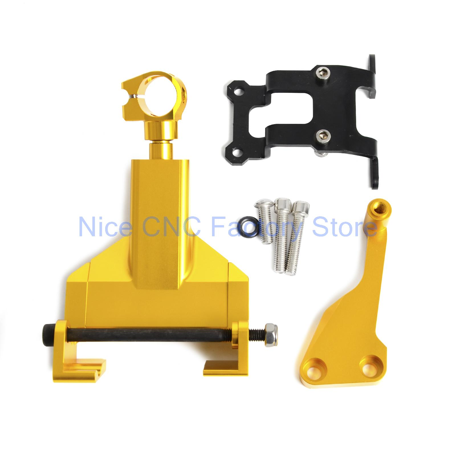 Gold Motorcycle Stablizer Damper Mounting Bracket Kit For Yamaha MT-07 MT07 MOTO CAGE 2014 2015 2016 motorcycle cnc aluminum windscreen windshield mounting bracket for yamaha mt07 mt 07 2014 2015 2016 red new style with logo