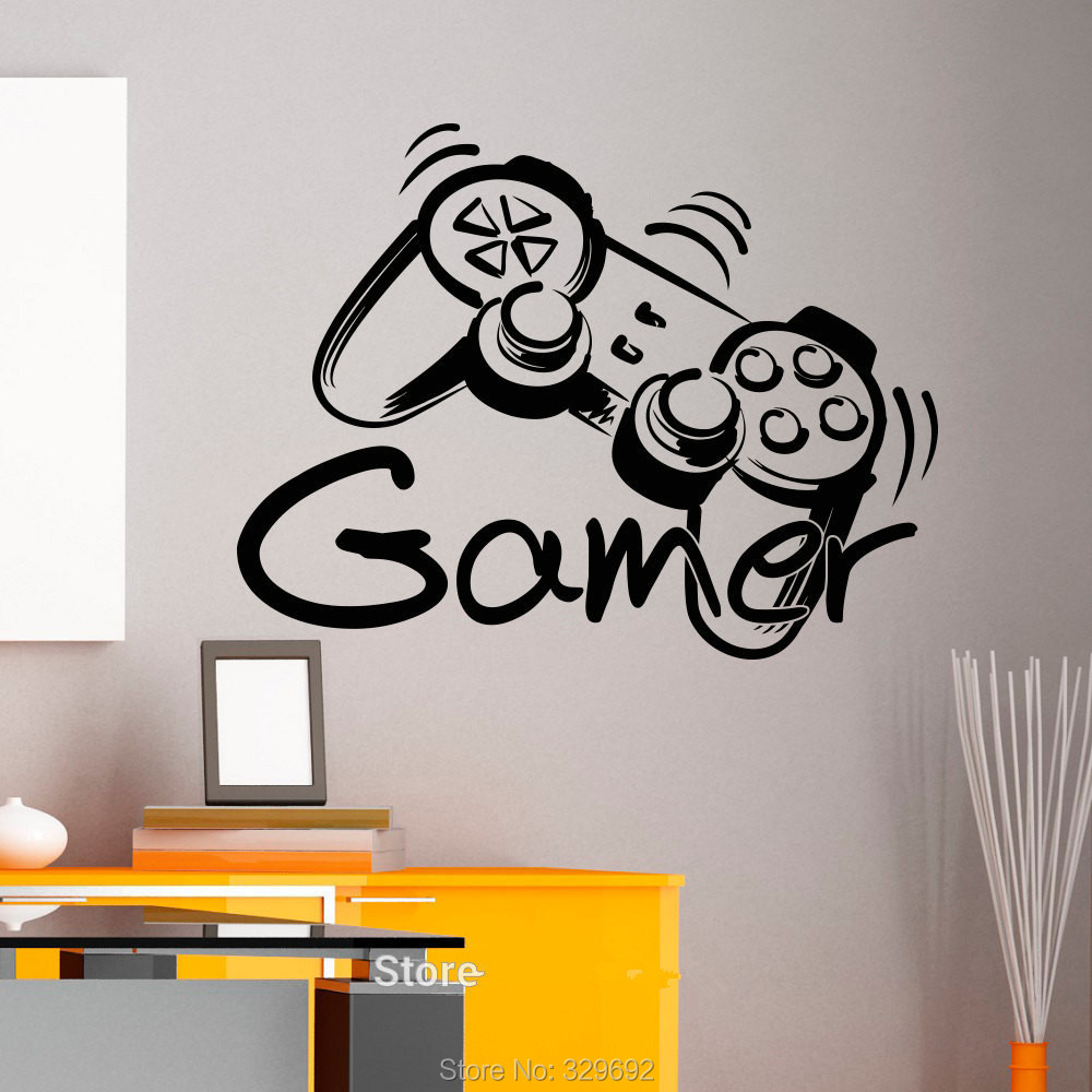 game controller gamer game zone wall art sticker decal home diy decoration wall mural removable bedroom: zones bedroom wallpaper