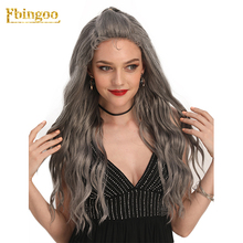 Ebingoo U Part Water Wave With Baby Hair Mixed Gray Synthetic Lace Front Wigs for Women Long Wavy Heat Resistant For