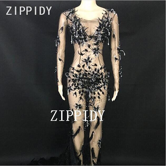 Черные большие стразы на сетчатой основе Перо хвоста платье женская одежда на день рождения вечерняя одежда для сцены сексуальное перспект