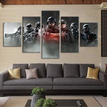 Canvas Prints Wall Art Poster 5 Pcs Tom Clancy'S Rainbow Six Siege Video Game Modular Pictures Home Bedroom Decoration Paintings(China)