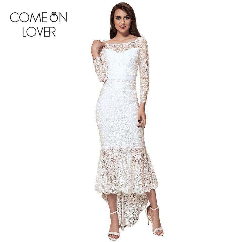 Comeonlover Mermaid party evening sexy elegant dresses 2XL big size slash neck western lace vestido long bodycon dress VL1063