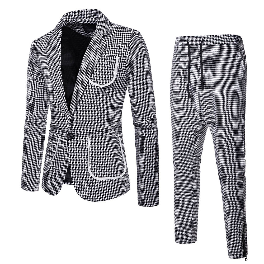 Suits Men 2019 Korea Blazers Suit 2-Piece Slim Suits Blazer Business Wedding Party Jacket Coat & Pants Blazers Suits Coat
