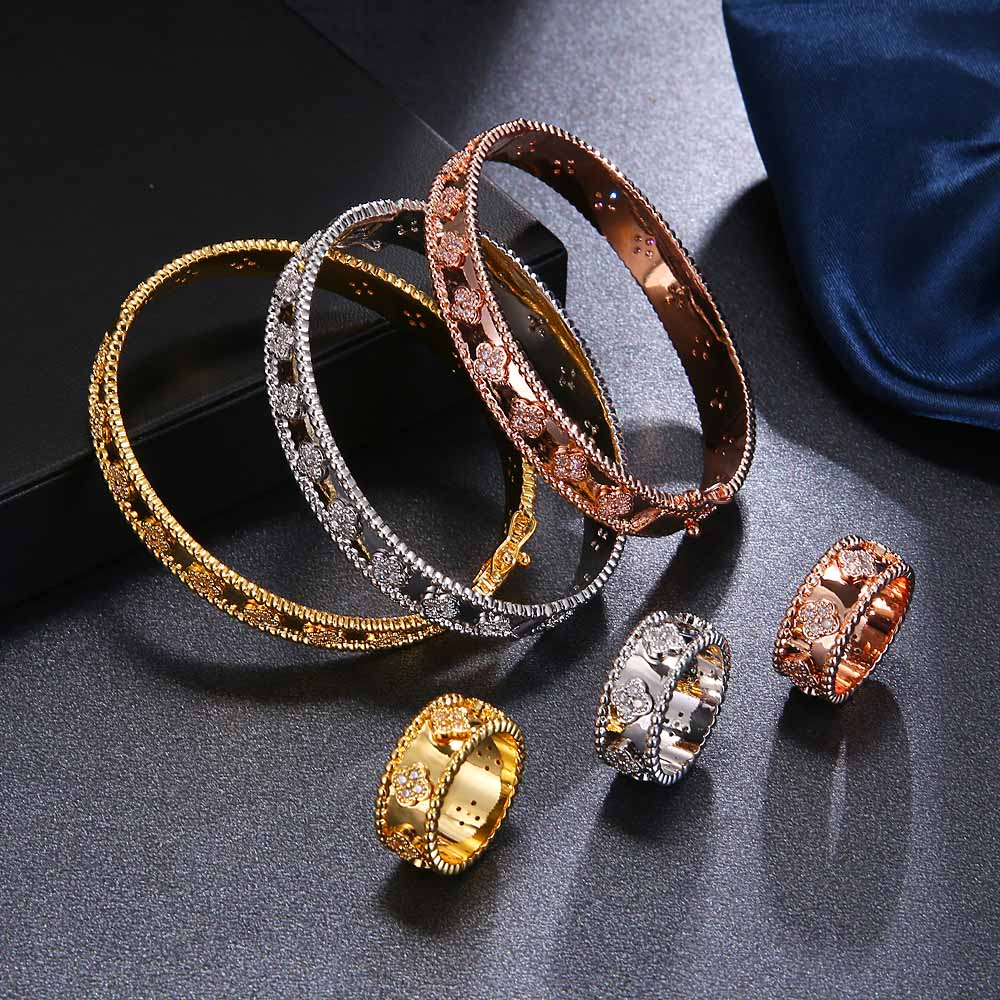HONGHONG 2019 High-quality Bangle & Bracelet Rings Jewelry Suit For Women Kaleidoscope Bracelet Rings Sets Fashion Jewelry(China)
