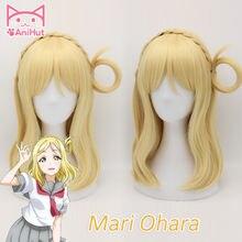 【anihut】 парик Мари охара love live sunshine Желтый для косплея