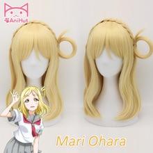 【AniHut】Mari Ohara Wig Love Live Sunshine Cosplay Wig Yellow Synthetic Hair Anime LoveLive Sunshine Cosplay Hair Mari Ohara