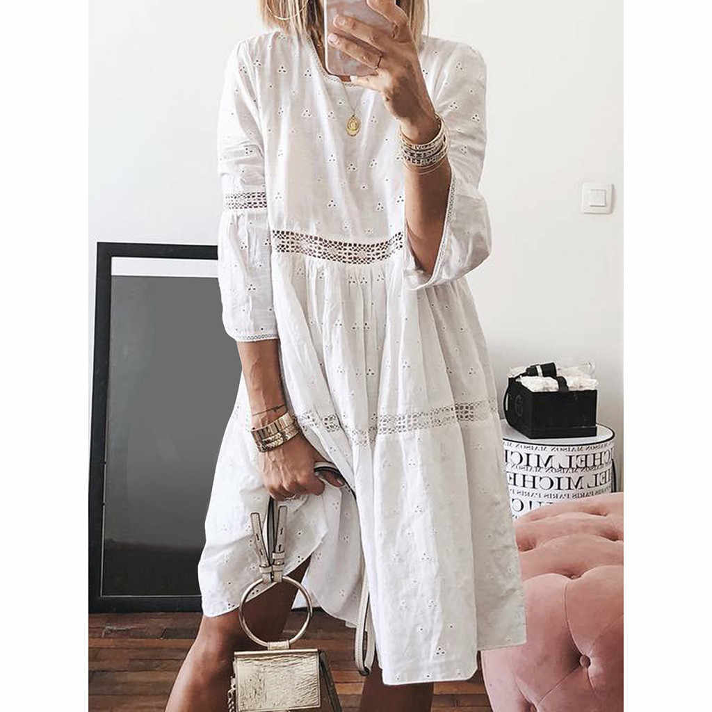 Girl Dress in Women Dress Boho Solid Crew Neck Dresses Hollow Out Splice 3/4 Sleeve Mid-Long Dresses Clothes 40 Drop shipping