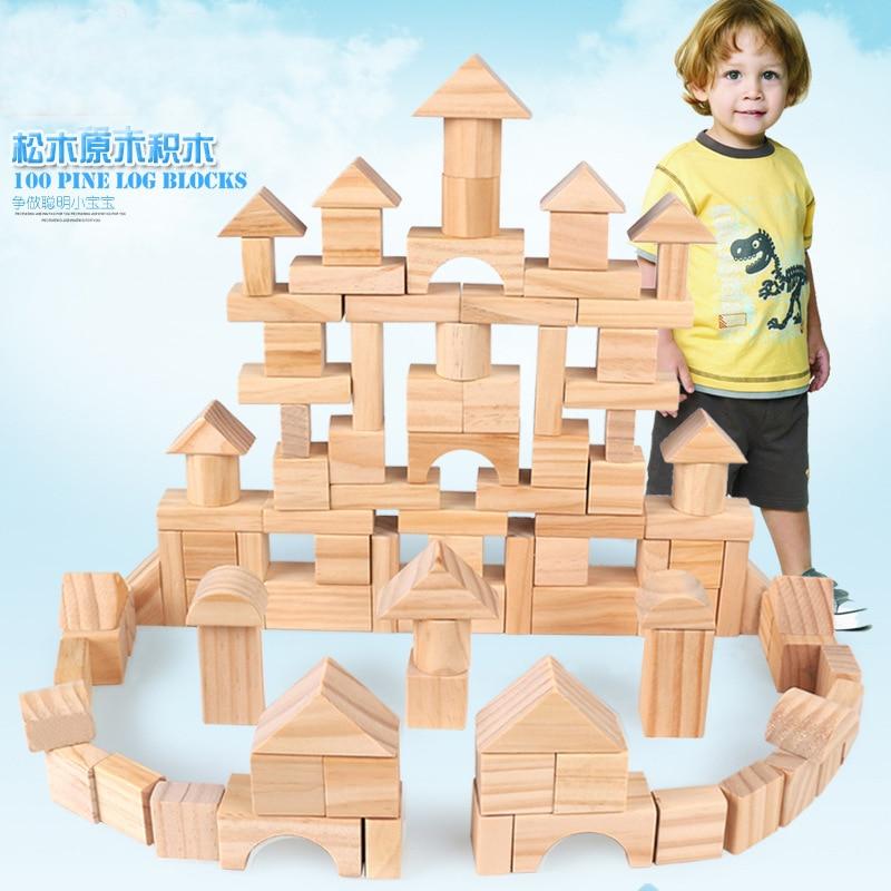 Wooden children pile up 100 barrels of wood green building toys early education  blocks children of rhatlan