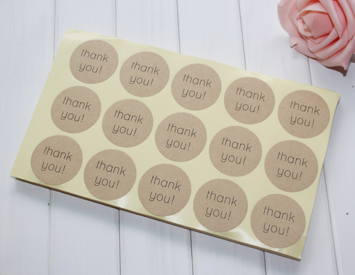 Thank You For Baking: Stock Thank You Diy Kraft Stickers Round 1.5inch 38mm