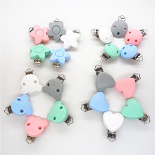 Chenkai 10PCS Silicone Round Heart Star Bear Teether Clips DIY Baby Pacifier Dummy Teething Chain Holder Soother Toy