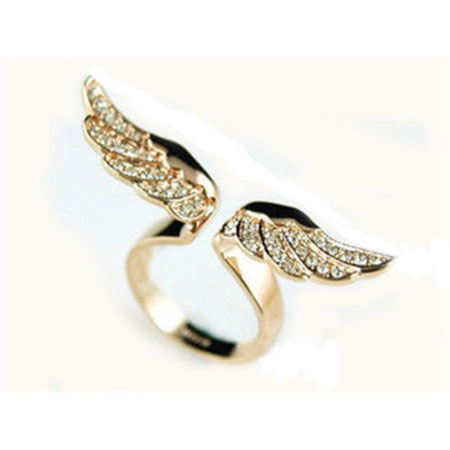 H:HYDE Adjustable angel wings ring Micro pave zircon gold-color rings for women
