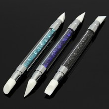 Double Head Nail Art Silicone Sculpture Pen Emboss Carving Craft Polish 3pcs Acrylic Rhinestone Handle Brush Salon Tool