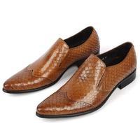 Оригинальный роскошный коричневый благородный рыбья чешуя с острым носком комплект мужской обуви элегантный Шарм