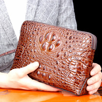 High Quality Real 100% Thailand Crocodile Leather Men Long Wallet Noble Luxury Vintage Handbag Business Envelope Bag Unisex 2018