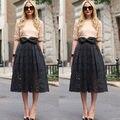 2015 Nuevas Señoras de Las Mujeres de Cintura Alta Midi Plisada Faldas Bowknot Del Partido Del Club Larga Falda de Encaje Negro