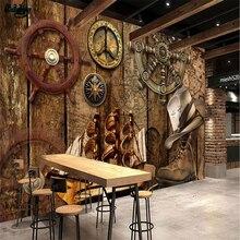Beibehang papel pintado grande personalizado Retro nostálgico tablero de madera timón navegación tema restaurante tocador pared de fondo