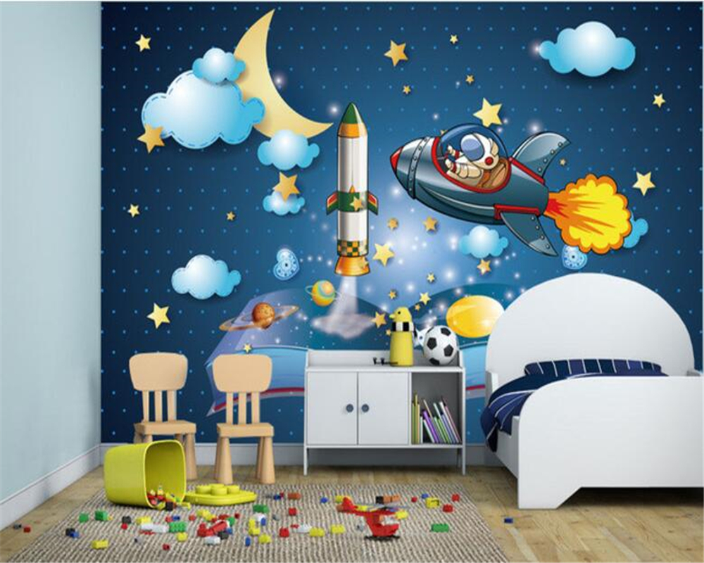 Beibehang fashion personality wallpaper space moon stars for Space wallpaper for kids room