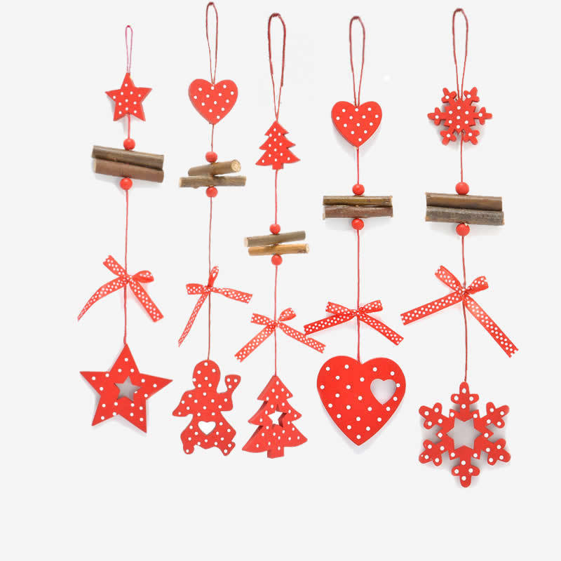 1pcs Christmas Snowflakes Star Tree Wooden Pendants Ornaments Home Party Xmas Kids Gifts Decorations