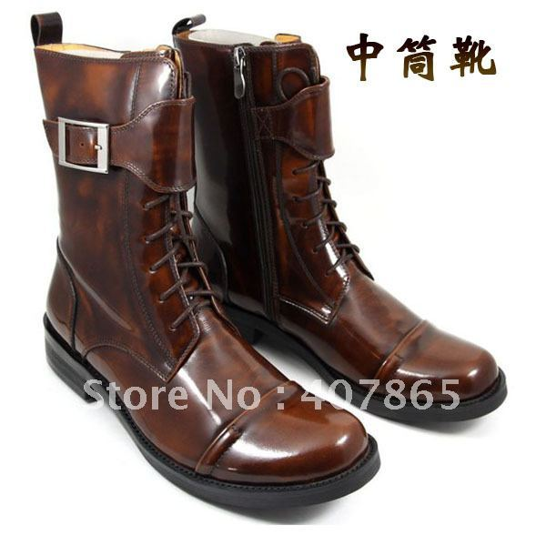new style Fashion leather boots male boots winter lacing medium-leg boots