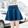 Новое поступление лето джинсовые юбки женщин свободного покроя плиссированные джинсы юбка женщины высокой талией мини юбка M-4XL