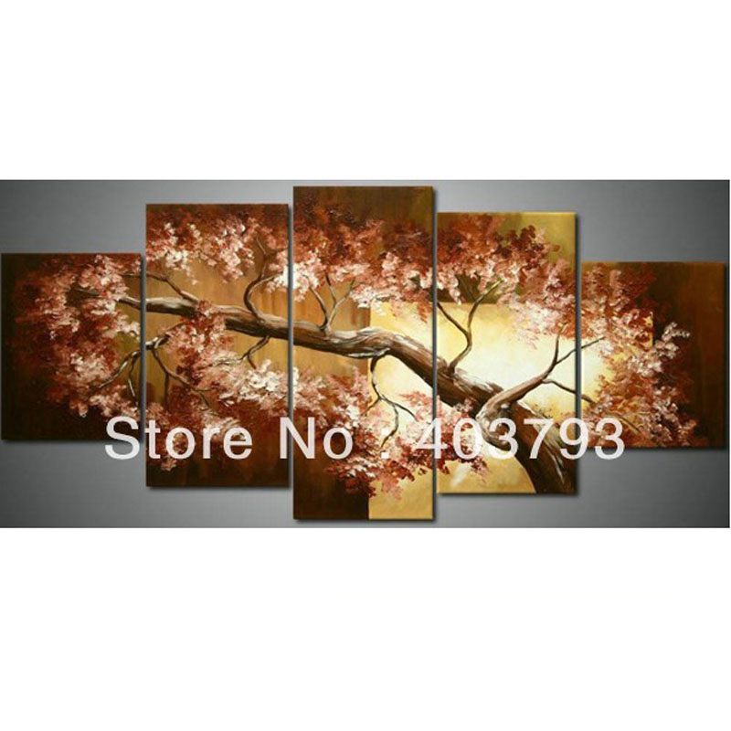 hot sale 5Panel drawing paint wall art on canvas tree Free shipping home decoration