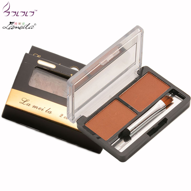 Lameila Brown Eyeshadow Cake Makeup 2 Color Waterproof Eyebrow Powder Eye Shadow Eye Brow Palette + Brush Eyebrow Enhancer