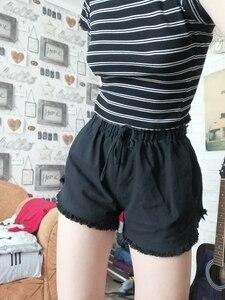 Image 5 - Базовые потертые хлопковые шорты, женские однотонные широкие шорты, летние повседневные белые, черные