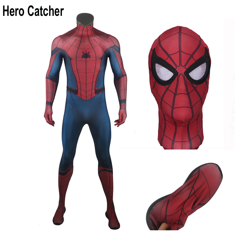 Hero Catcher High Quality For 175cm-180cm Tall Spiderman Homecoming Costume Tom Holland Spiderman Cosplay Costume With Shoes