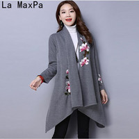 Elegant Sweater Cloak Coat Women Floral Embroidery Kimono Autumn Winter Long Female Overcoat Long Sleeve Trench